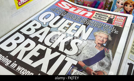 London, UK. 9th March, 2016. Front cover story of The Sun newspaper. Buckingham Palace has complained to the press - Stock Photo