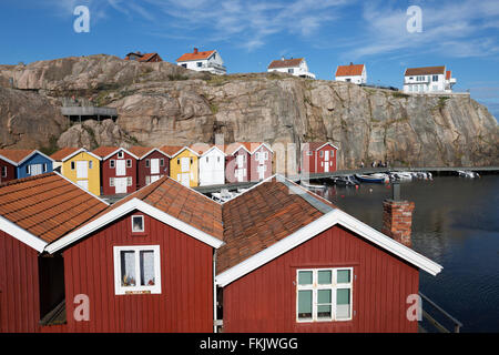 Traditional falu red fishermen's houses in harbour, Smögen, Bohuslän Coast, Southwest Sweden, Sweden, Scandinavia, - Stock Photo