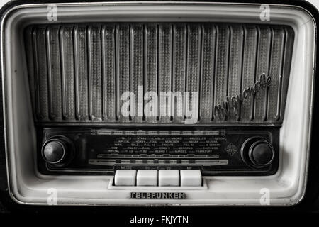 Old radio black and white - Stock Photo