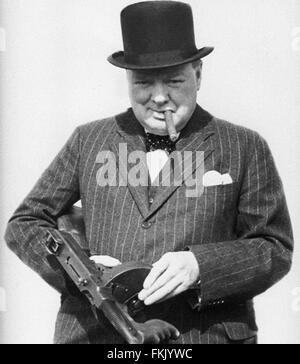 Sir Winston Churchill wartime image with a 'Tommy' gun. From the archives of Press Portrait Service - formerly Press - Stock Photo