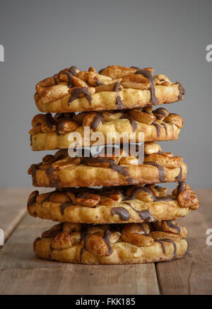 chocolate chip sweet cookies with peanuts - Stock Photo