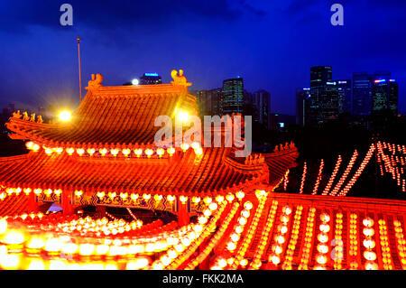 View of Kuala Lumpur form the Thean Hou Temple during the Chinese Lantern festival, Kuala Lumpur, Malaysia - Stock Photo