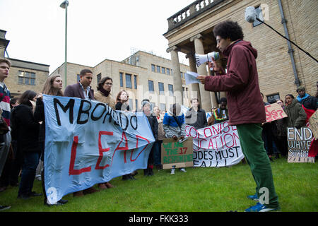 Oxford, UK. 9th March, 2016. Students march through Oxford universities demanding for Cecil Rhodes statue to be - Stock Photo