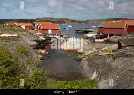Traditional falu red fishermen's houses, Käringön island, Bohuslän Coast, Southwest Sweden, Sweden, Scandinavia, - Stock Photo