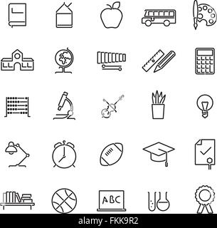 Set of 25 education, school, college and university related line icons - Stock Photo