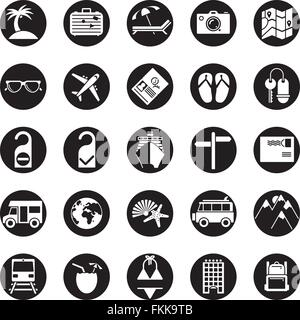 Collection of travel and vacation vector icons, negative in black circles - Stock Photo
