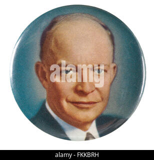 1950s Dwight D Eisenhower picture pinback button pin - Stock Photo