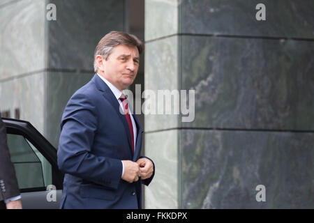 Warsaw, Poland. 9th March, 2016. Marshal of the Sejm Marek Kuchcinski in front of the National Security Bureau's - Stock Photo