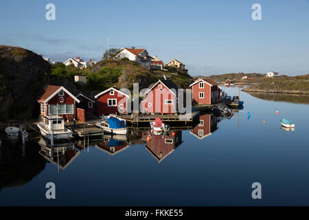 Traditional falu red fishermen's houses, Stocken, Orust, Bohuslän Coast, Southwest Sweden, Sweden, Scandinavia, - Stock Photo