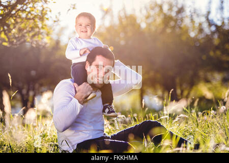 Father carrying son on shoulders, sitting on the grass - Stock Photo
