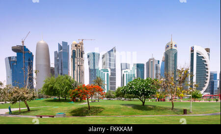 Daytime skyline of office towers in West Bay business district in Doha Qatar - Stock Photo