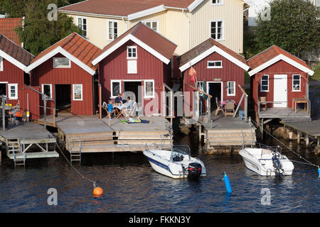 Traditional falu red fishermen's houses, Hälleviksstrand, Orust, Bohuslän Coast, Southwest Sweden, Sweden, Scandinavia, - Stock Photo