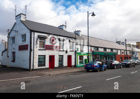 Village of Glenties, County Donegal, Ireland. Roddys Bar, Post Office on the main street N56 through the village - Stock Photo