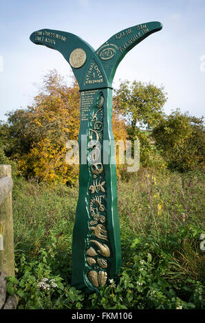 National Cycle Network signpost near Chippenham Wiltshire UK - Stock Photo