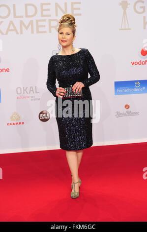 Goldene Kamera awards 2016 - Arrivals  Featuring: Michaela Schaffrath Where: Hamburg, Germany When: 06 Feb 2016 - Stock Photo
