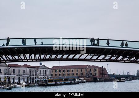 Venice, Italy, Constitution Bridge, by famous Spanish architect Santiago Calatrava. - Stock Photo