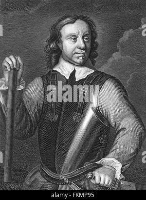 Oliver Cromwell, engraving from portrait by Robert Walker - Stock Photo