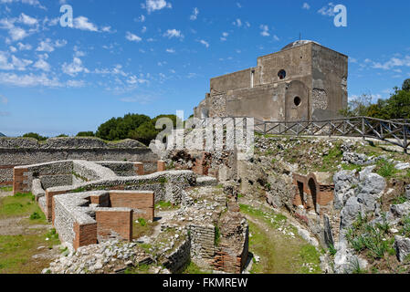 Ruins of the Roman Villa Jovis with Chiesa di Santa Maria del Soccorso church, Capri, Gulf of Naples, Campania, - Stock Photo