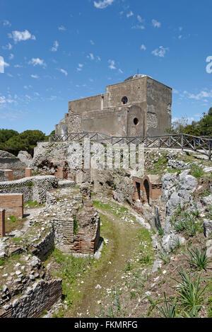 Ruins of the Roman Villa Jovis with Chiesa di Santa Maria del Soccorso church, Capri, Gulf of Naples, Campania, - Stock Photo