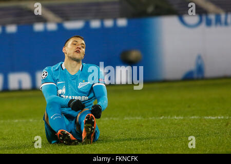 St. Petersburg, Russia. 9th March, 2016. Artem Dzyuba of Zenit reacts during the UEFA Champions League Round of - Stock Photo
