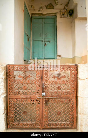 An India classic door and gate in Golden fort of Jaisalmer. - Stock Photo