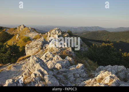 View from the Freedom Monument on Shipka Pass, evening light, Central Balkans, Bulgaria - Stock Photo