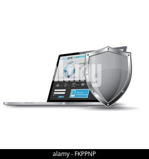 Laptop with metallic shield, internet security concept - Stock Photo
