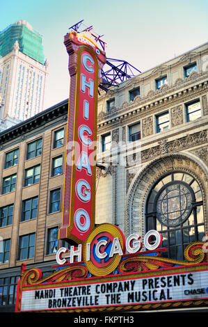 The historic landmark Chicago Theatre was built for Balaban and Katz in 1921 and resides on the city's famous State - Stock Photo