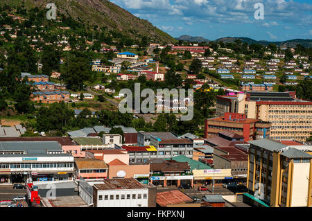 Aerial view of CBD looking east, CBD, Mbabane, Swaziland - Stock Photo