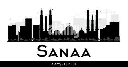 Sanaa City skyline black and white silhouette. Vector illustration. Simple flat concept for tourism presentation, - Stock Photo