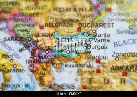 Beautiful photo of a map of Bulgaria and the capital Sofia . - Stock Photo