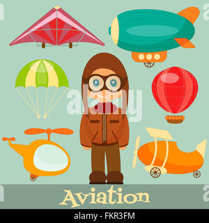Set of Aero Vehicles. Airman in Uniform. Cartoon Style. - Stock Photo