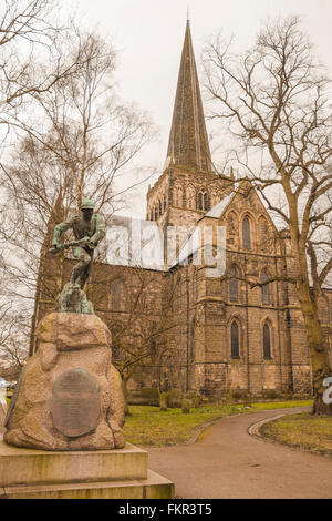 A view of the war memorial and St Cuthberts church in Darlington in north east England - Stock Photo