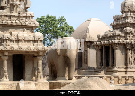 Pancha Rathas, Mahabalipuram, Kanchipuram, Tamil Nadu, India - Stock Photo