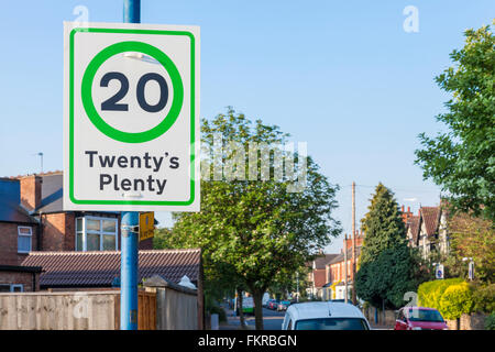 Twenty's Plenty. 20 mph speed limit sign in a residential area of Nottinghamshire, England, UK - Stock Photo