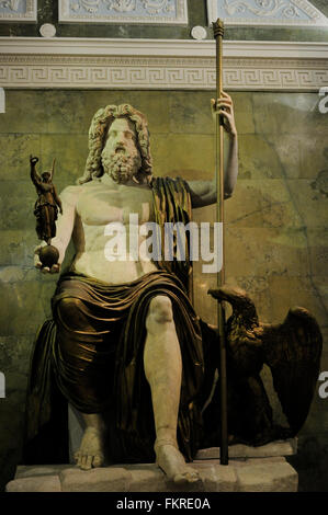 Roman Art. Statue of Jupiter. Marble. Late 1st century AD. Drapings, scepter, Eagle and Victory are made of painted - Stock Photo