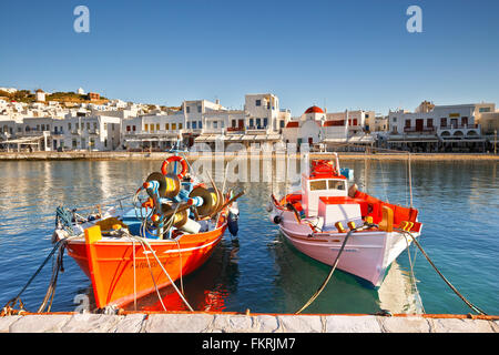 Town of Mykonos as seen from the old harbor. - Stock Photo