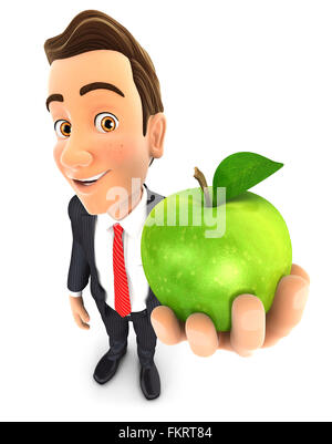 3d businessman holding green apple, isolated white background - Stock Photo