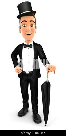 3d elegant gentleman with umbrella, isolated white background - Stock Photo