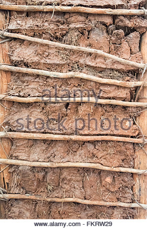 Museum of Architecture: Interior of clay and branch wall, traditional in Spanish colonial times  Trinidad is a Unesco - Stock Photo