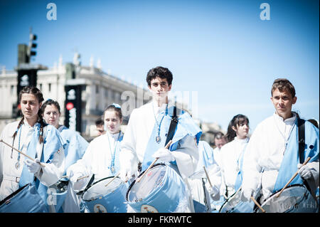In Spain, Holy week is celebrated with emotion. The streets are filled with the beat of the drums, flowers, and - Stock Photo