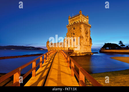 Portugal, Lisbon: Monumental Tower of Belém by night - Stock Photo