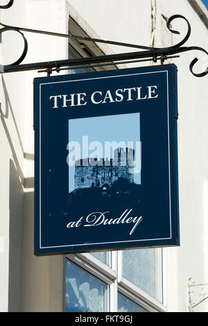The Castle pub sign, Dudley, West Midlands, England, UK - Stock Photo