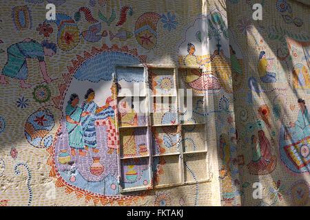 Dhaka 2016. Bangladeshi traditional wall art in Dhaka. - Stock Photo