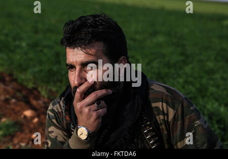 SYRIA. MARCH 10, 2016. Abu Juma, leader of Jaysh al-Thuwar, near the town of Azaz. Jaysh al-Thuwar, or the Army - Stock Photo