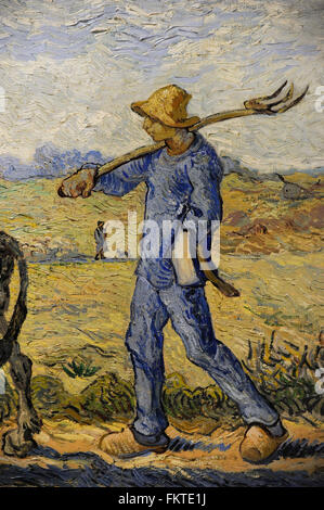 Vincent Van Gogh (1853-1890). Dutch Post-Impressionist painter. Morning: Going out to Work (after Millet), 1890. - Stock Photo
