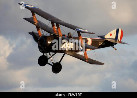 Sopwith Triplane 'DIXIE' flying at Old Warden - Stock Photo