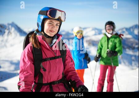 Young skiers on skiing trip, Les Arcs, Villaroger, Savoie, France - Stock Photo