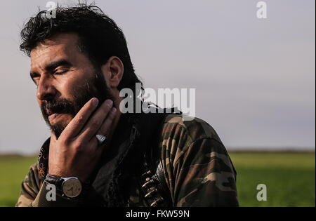SYRIA. MARCH 10, 2016. Abu Juma, leader of Jaysh al-Thuwar, near the town of Azaz. Jaysh al-Thuwar, or the Army - Stock Photo