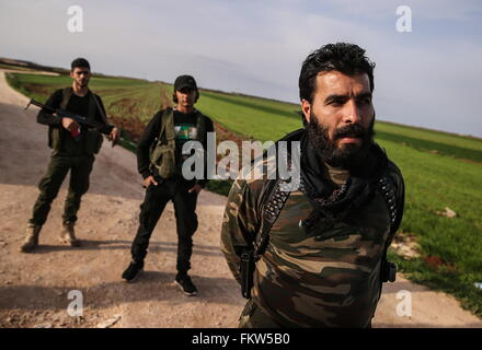 SYRIA. MARCH 10, 2016. Abu Juma (front), leader of Jaysh al-Thuwar, near the town of Azaz. Jaysh al-Thuwar, or the - Stock Photo